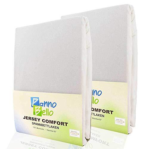 PANNOBELLO Spannbettlaken Doppelpack Weiss 2 Stück 180 x 200 cm - 200 x 200 cm (+30 cm) Jersey 100% Baumwolle für bis zu 40 cm Hohe Matratzen Spannbett-Tuch Bettlaken Laken auch für Topper