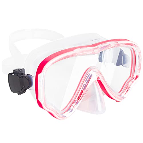 Peicees Snorkel Mask Swimming Goggles With Nose Cover For Kids, youth Anti Fog Swim Goggles Diving Mask For Boys & Girls (Rose Red)