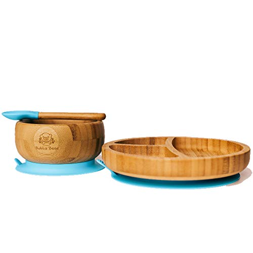 Bubba Bear  Baby Bamboo Suction Bowl, Plate & Spoon Set | Stay Put Toddler Led Feeding Bowls & Plates | Guide to Weaning eBook
