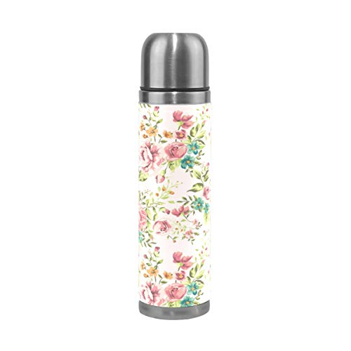Emoya Trinkflasche Classic Vintage Flower Vakuum Isolierte doppelwandige 18/8 Edelstahl Thermoskanne Reisebecher