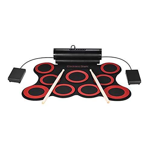 Elektronisches Schlagzeug, Aufrollen, Schlagzeug-Kit, Stereo-Silikon-Trommel, Kinder, die Percussion üben,Red