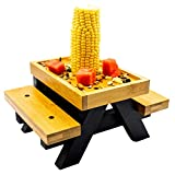 Furhouse Squirrel Picnic Table Feeder I Screw Protector for Squirrel Safety I Lip for Fruit Nuts and Less Waste I Large Outside Bench Chair Squirrel and Bird House Feeder with Durable Corn Cob Holder