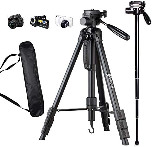 EXCERCUS 2 in 1 Tripod Monopod Max 70 inch 70 Aluminum Professional Video Camera Mount Leg with product image