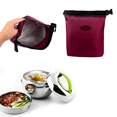 Lunch Box,IEason Clearance Sale! Waterproof Thermal Cooler Insulated Lunch Box Portable Tote Storage Picnic Bags (Wine Red)