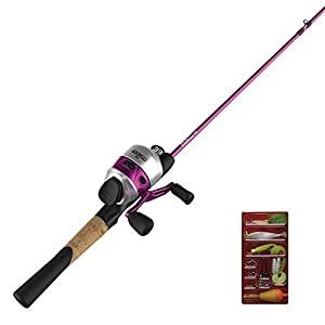 Zebco 33 Spincast Reel and 2-Piece Fishing Rod Combo, 5.5-Foot Durable Fiberglass Rod with Split Cork/EVA Handle, QuickSet Anti-Reverse Fishing Reel with Bite Alert, Includes 29-Pieces of Tackle, Pink