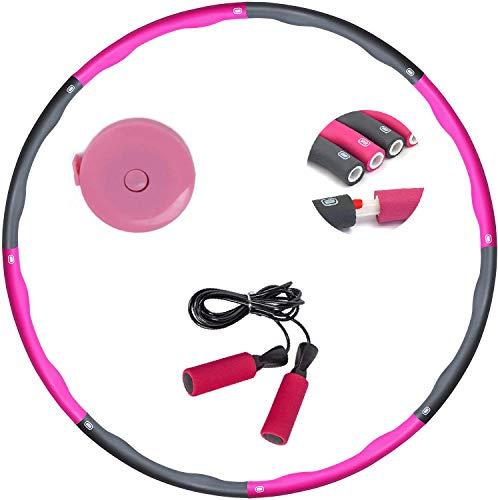 Hoola Hoop Reifen Erwachsene, Hullahub Reifen Zum Abnehmen, 6-8 Segmente Abnehmbarer Hoola Hoop mit Mini Bandmaß Und Springseil, für Erwachsene & Kinder Fitnesskreis, Hoola Hoop Reifen 1,2 kg