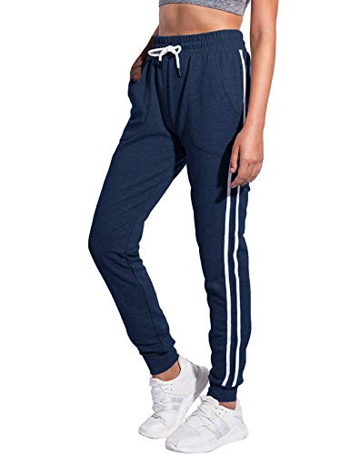PULI Women's Petite Athletic Sweatpants Joggers Activewear Pants with Pockets Navy XX-Large