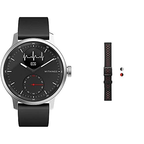 Withings ScanWatch Reloj Inteligente híbrido con ECG, tensiómetro y oxímetro, Negro + Pulseras Deportivas de Silicona para los Relojes ScanWatch, Steel HR, Steel HR Sport