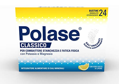 Polase Classico Integratore Alimentare di Potassio e Magnesio, un aiuto contro la Stanchezza e la Fatica Fisica, ideale per il periodo estivo, Senza Glutine, gusto Limone, 24 bustine
