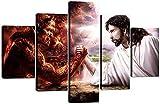 CVBGF Cuadros 5 Piezas Arte sobre Lienzo/Jesucristo Dios Diablo Maligno/Stampa su Tela, decoración de Pared Bellissimo Design con Enmarcado Arte Talla:M/W=150Cm,H=80Cm