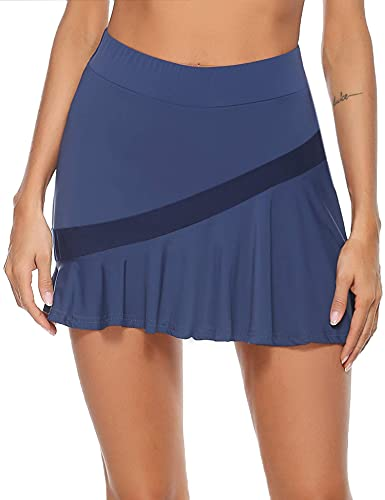 Akalnny Gonna Sportiva da Donna con Pantaloncini da Tennis Sportiva Mini Skirt Ginnastica Gonna per Golf, Yoga, Tennis, Palestra (Blu Navy, M)