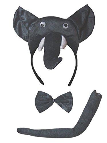 Petitebelle Traje de cola de 3 piezas en 3D diadema Bowtie Un tamaño 3d elefante