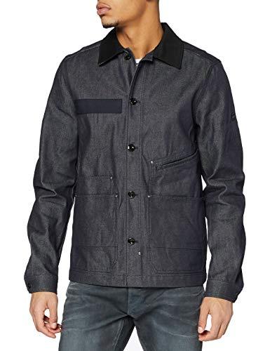 G-STAR RAW Mens Worker Overshirt Cotton Lightweight Jacket, raw Denim C518-001, L