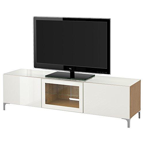 IKEA BESTA - Banc TV avec effet des portes en chêne / haute brillance Selsviken / blanc verre clair