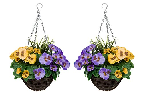 GreenBrokers Purple & Yellow 2X Artificial Hanging Baskets Pansies and Decorative Grasses (Set of 2)