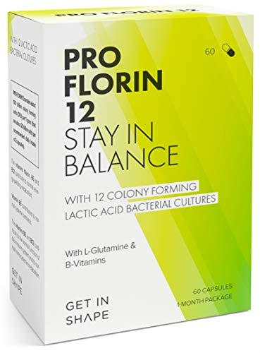 Pro Florin de Get in Shape es un Complejo de 12 cultivos vivos de bacteria intestinal (dosis altas de 20 mil millones UFC) que ayuda a restructurar la flora intestinal y rehabilitar el intestino