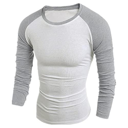 Camisa Homme Casual Costuras básicas de Manga Larga Slim Casual Cuello Camiseta