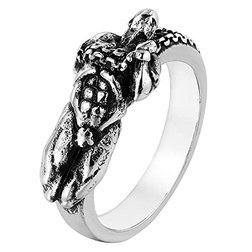 Ring Prometheus、ゴシックバイキングヒップホップパンクレトロ、チタンスチールジュエリー、騎士、ハロウィーン、パーティー、男性、女性の休日の贈り物に適しています。 (Color : Silver, Size : 9)
