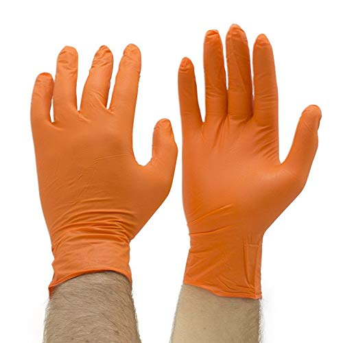 Grease Bully Nitrile Gloves - 6MIL - Powder & Latex Free - 300 Count - 3 Boxes (Orange, Small)