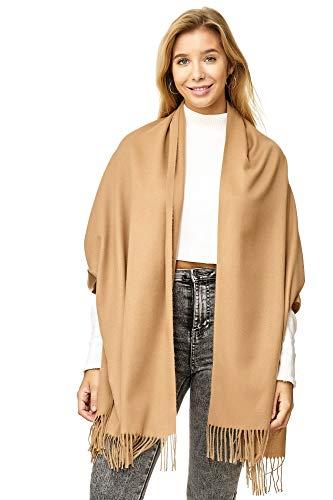 JillyMode XXL Damen Schal Winter Dick Warm und weich viele schöne Mustern (8717-Uni-Camel)