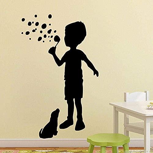 Calcomanías De Pared Para Perros Para Niños Niño Soplando Burbujas Arte Mural Creativo Habitación De Los Niños Área De Juegos De Jardín De Infantes Decoración De Interiores Pegatina De Vinilo 57X35 Cm