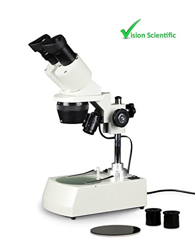 Vision Scientific VMS0002-LD-123-ES2 Tri-Power Binocular Stereo Microscope, Pair of 10x and Pair of 20x WF Eyepieces, 1x, 2xand 3X Objectives, 10x, 20x, 30x, 40x, 60x Magnification, 110V
