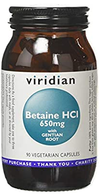 Viridian Betaine HCL with Gentian Root 650mg 90 Veg Caps by Viridian Nutrition