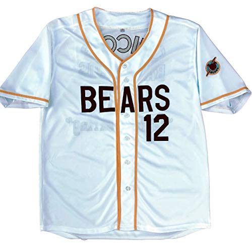 MVG ATHLETICS Bad News Bears Movie Baseball Jersey #12 Embroidered S-XXL (Large) White