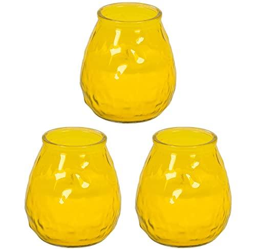 Müller Kerzen Citronella Summerlight - Set da 3 pezzi, misura grande, colore: Giallo