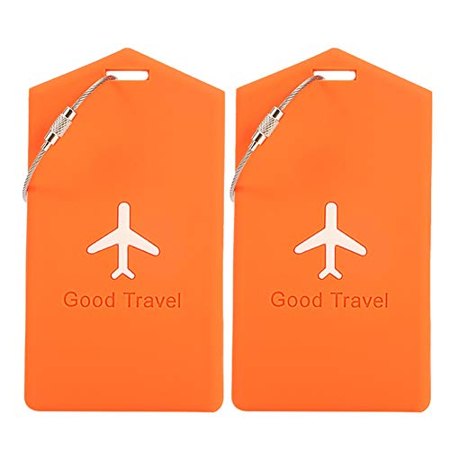 atnight Luggage Tag,Travel Silicone Luggage Tag with Name ID Card,Suitcase Bag Label,Best for Preventing Loss of Bags and Suitcases(2 Pack,Orange)