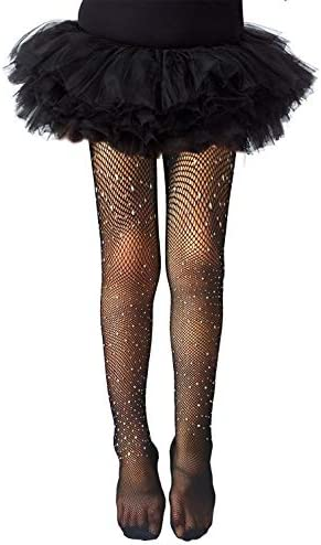 LUCKELF Girls Tights Children s Fishnet Tight 12 Colors Sparkle Rhinestone Hollow Out Pantyhose product image