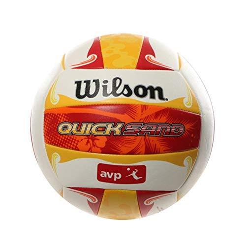 Wilson Palla da beach volley, Utilizzo all'aperto, Uso ricreativo, Misura ufficiale, AVP QUICKSAND ALOHA, Rosso/Giallo/Bianco, WTH489097XB