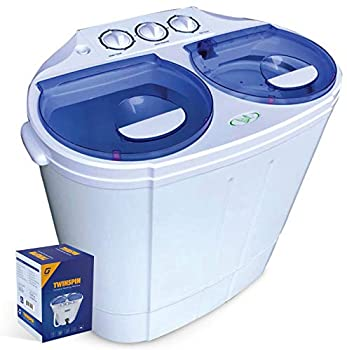 Garatic Portable Compact Mini Twin Tub Washing Machine w/Wash and Spin Cycle Built-in Gravity Drain 13lbs Capacity For Camping Apartments Dorms College Rooms RV's Delicates and more