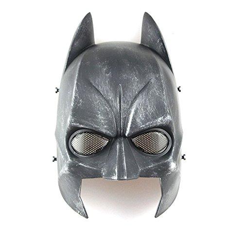 WorldShopping4U tech-p Batman Maske Softair CS Planspiel Field halben Kopf Maske Schützen Armee Cosplay Maske Gear Silber Schwarz