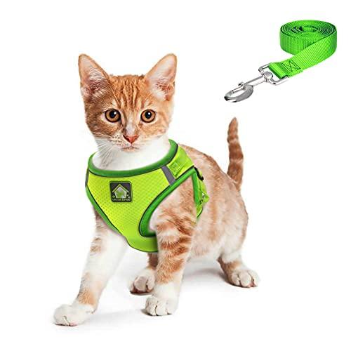FEimaX Arnés Gatos Antiescape, Arnés para Gato y Perro Pequeño con Correa de 150cm Cuerda Chaleco Suave Ajustable con Tira Reflectante para Cachorro Gatito