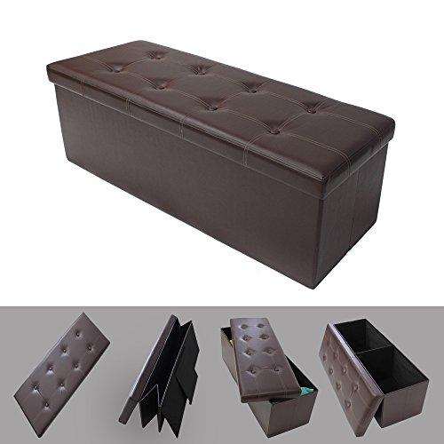 Todeco - Almacenamiento Banco, Almacenamiento Otomano Plegable de Cuero - Carga máxima: 150 kg - Material: Imitación de Cuero - Acabado Cosido y copetudo, 110 x 38 x 38 cm, Marrón