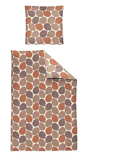 Irisette Set di biancheria da letto in flanella, 2 pezzi, copripiumino 155 x 200 cm, federa 80 x 80 cm, Feel 8322-63, arancione