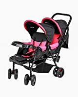 Baby Plus Twin Babies Stroller for Girls, Pink - BP7743