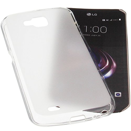 Tasche für LG X Venture Gummi TPU Schutz Handytasche transparent weiß