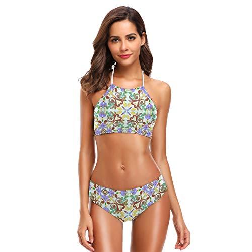 SUGARHE Traje de baño para Mujer,Azulejos Vintage diseño Decorativo Piso de cerámica,Conjunto de Bikini para niñas Dividido(M)
