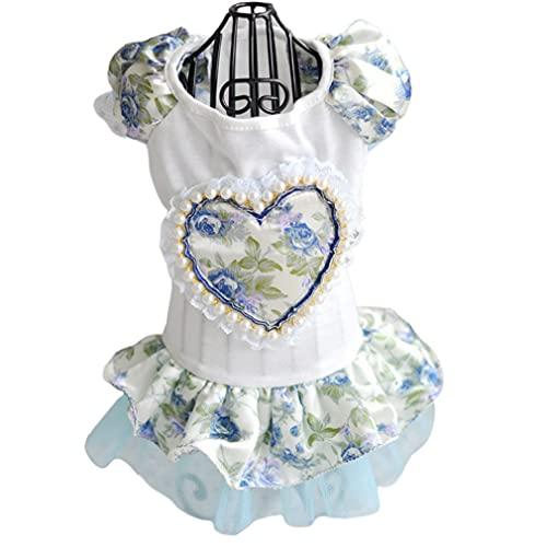 SeniorMar-UK Vestidos para Perros Perros disfrazados Ropa para Perros Flores de Perlas Diseo de corazn Vestido para Perros Disfraces Falda Elegante Suministros para Mascotas Blanco y Azul L