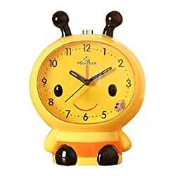 Black Temptation Creative Bee Alarm Clock Bedside Alarm Clock for Kids/Students Yellow