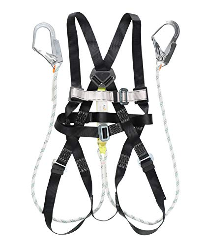 MKWORK フルハーネス 安全帯 墜落制止用器具の規格適合品 第一種 ショックアブソーバー付き ランヤード 2本吊り 二丁掛け 一般高所作業用 MK801