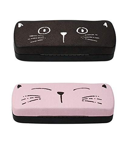 [2 PACK], JAVOedge Pink and Black Cute Cat Face Printed Hard Clamshell Eyeglass Storage Case with Microfiber Cloth