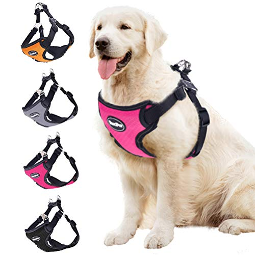 BINGPET No Pull Dog Harness Adjustable Soft Vest Reflective for Outdoor Walking, Pink Small