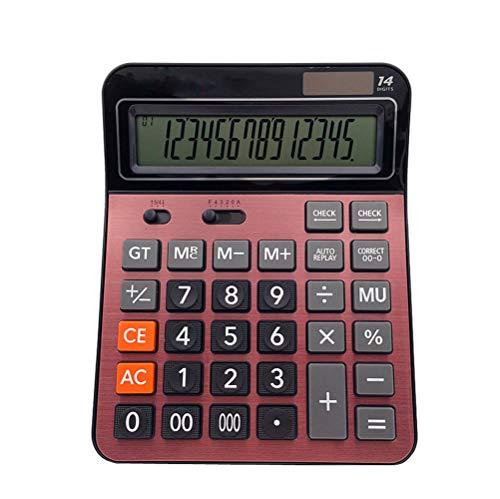 Meichoon Grande Calculadora Sobremesa Bateria Solar Comercial Función Estándar Doble Potencia con Pantalla LCD 14 Dígitos Conveniente para Oficina y Hogar Rojo KA06