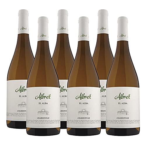 Vino Blanco Albret Alba Chardonnay de 75 cl - D.O. Navarra - Bodegas Albret (Pack de 6 botellas)