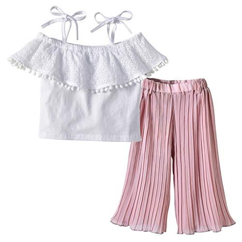 JERFER Sommer Kinder Mädchen Spitze Aus der Schulter Ernte Tops und Breites Bein Hose Outfit Set