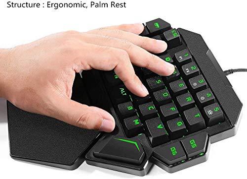 Bradoner 35 Tasten RGB Einhändig Mechanical Gaming Keyboard, Bunte Hintergrundbeleuchtung Professioneller Gaming-Tastatur Mit Handgelenkauflage Unterstützung, USB-Kabel Mechanische Tastatur for Spiel