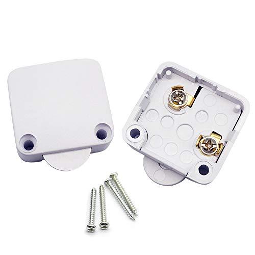 FUJIE 2Pcs Interruptor de la puerta Empuje de superficie Interruptor de contacto para puerta de mueble Iluminación Interruptor automático 2A 250V la luz de puerta del interruptor del empuje Blanco